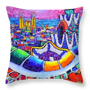 Barcelona Park Guell Colorful Night Textural Impasto Knife Oil Painting Abstract Ana Maria Edulescu Throw Pillow