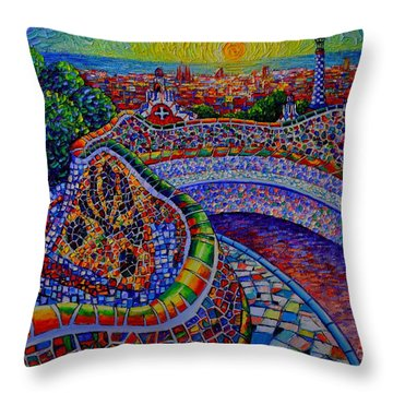 Barcelona Park Guell Sunrise Modern Impressionist Impasto Knife Oil Painting Ana Maria Edulescu Throw Pillow