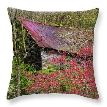 Barn In Dogwoods Throw Pillow