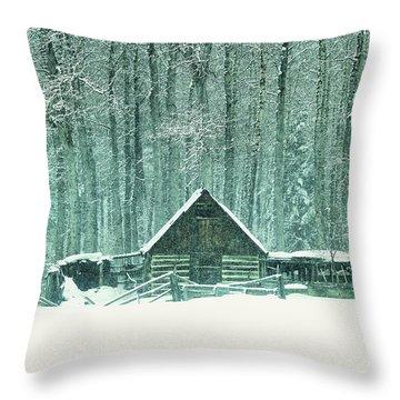 Barn In Snowfall Throw Pillow