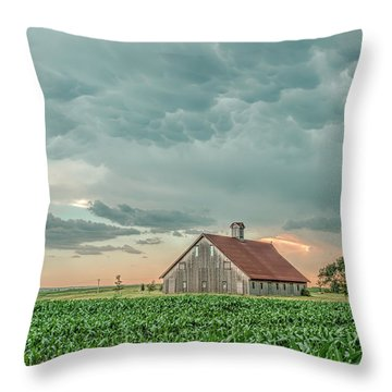 Barn In Sunset Throw Pillow