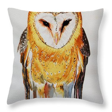 Barn Owl Drip Throw Pillow