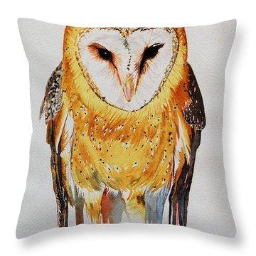 Barn Owl Drip Throw Pillow