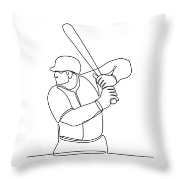 Baseball Player Batting Continuous Line Throw Pillow