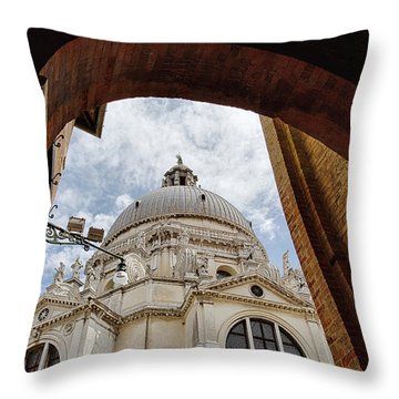 Throw Pillow featuring the photograph Basilica Di Santa Maria Della Salute Venice Italy by Nathan Bush