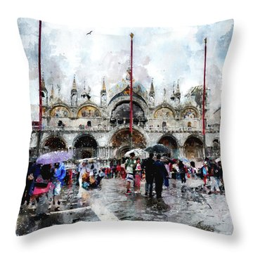 Basilica Of Saint Mark In Venice, Italy - Watercolor Effect Throw Pillow