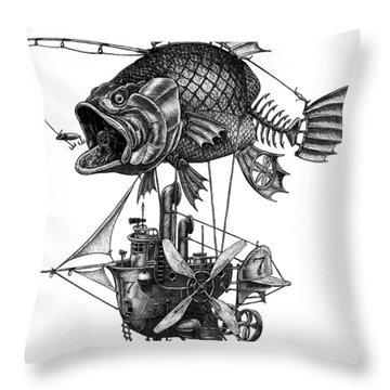 Bass Airship Throw Pillow