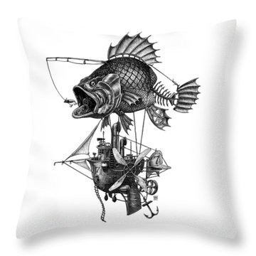 Bass Airship Throw Pillow