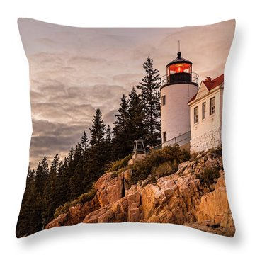 Throw Pillow featuring the photograph Bass Harbor Lighthouse by Dan Sproul