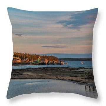 Bass Harbor Sunset Throw Pillow