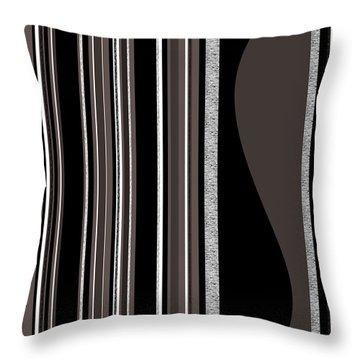 Bass Note - Random Stripes - Black And White Throw Pillow