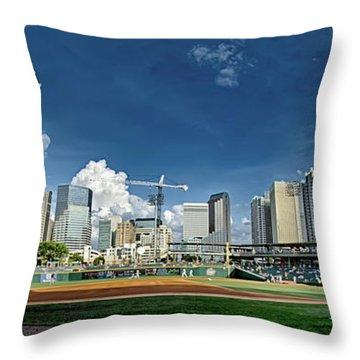 Bbt Baseball Charlotte Nc Knights Baseball Stadium And City Skyl Throw Pillow