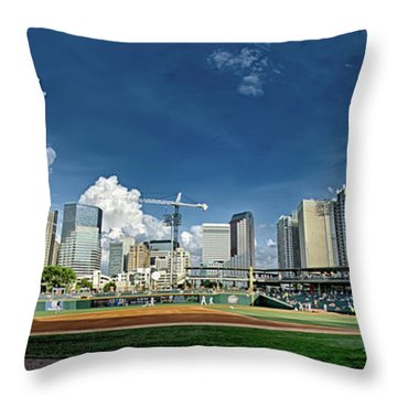 Bbt Baseball Charlotte Nc Knights Baseball Stadium And City Skyl Throw Pillow
