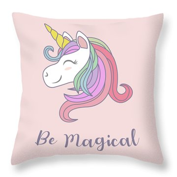Be Magical - Baby Room Nursery Art Poster Print Throw Pillow