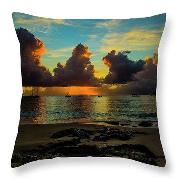 Beach At Sunset 2 Throw Pillow