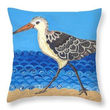 Throw Pillow featuring the painting Beach Bird 2 by Caroline Sainis