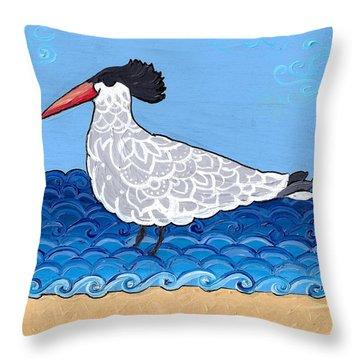 Throw Pillow featuring the painting Beach Bird 3 by Caroline Sainis