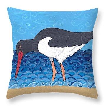 Throw Pillow featuring the painting Beach Bird 4 by Caroline Sainis