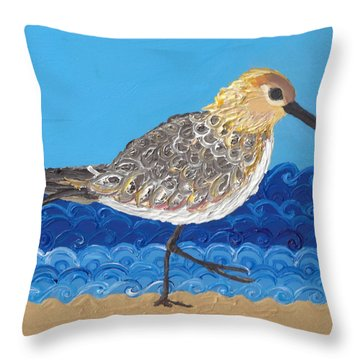 Throw Pillow featuring the painting Beach Bird  by Caroline Sainis