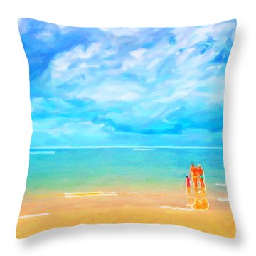 Beach Blues II Throw Pillow