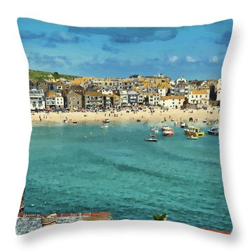 Beach From Across Bay St. Ives, Cornwall, England Throw Pillow