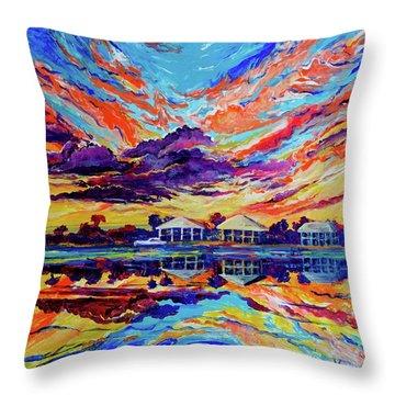Beach House Reflections Fluid Acrylic Throw Pillow