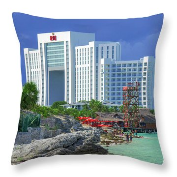 Beach Life In Cancun Throw Pillow