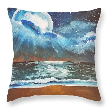 Beach Moon  Throw Pillow