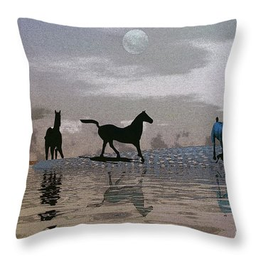 Beach Of Wild Horses Throw Pillow