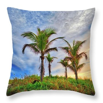 Throw Pillow featuring the photograph Beach Sunrise Over The Palms by Lynn Bauer
