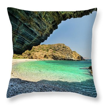 Almiro Beach With Cave Throw Pillow