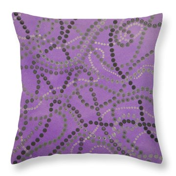 Beads And Pearls - Gray Throw Pillow