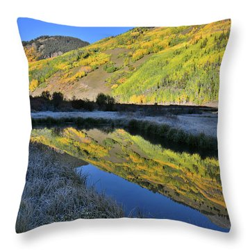 Beautiful Mirror Image On Crystal Lake Throw Pillow