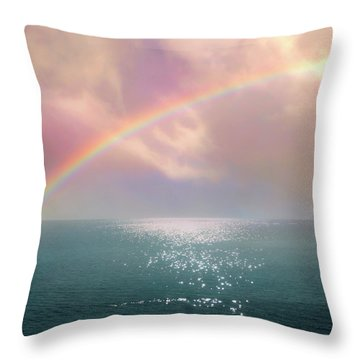 Beautiful Morning In Dreamland With Rainbow Throw Pillow