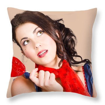 Beautiful Pinup Girl Holding Candy. Sweet Heart Throw Pillow