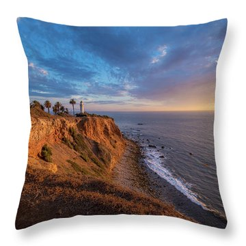 Beautiful Point Vicente Lighthouse At Sunset Throw Pillow