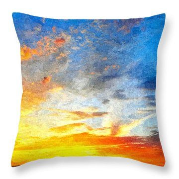 Beautiful Sunset In Landscape In Nature With Warm Sky, Digital A Throw Pillow