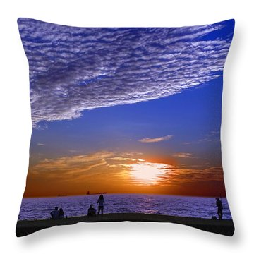 Beautiful Sunset With Ships And People Throw Pillow