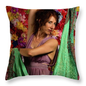 Throw Pillow featuring the photograph Beautiful Woman Surrounded By Flowers by Dennis Dame
