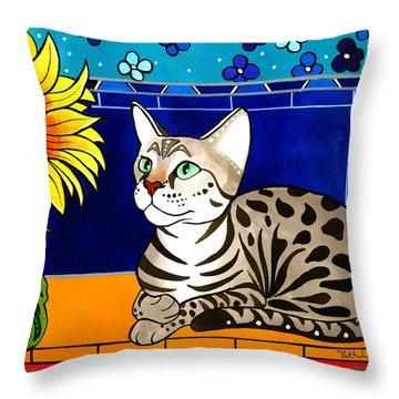 Beauty In Bloom - Savannah Cat Painting Throw Pillow