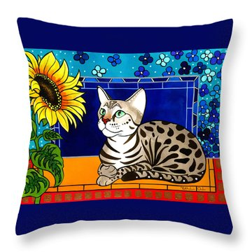 Beauty In Bloom - Savannah Cat Painting Throw Pillow