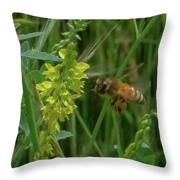 Throw Pillow featuring the photograph Bee In Flight by Lora J Wilson