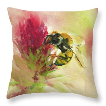 Bee On Clover Throw Pillow