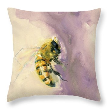 Bee On Lavender Throw Pillow