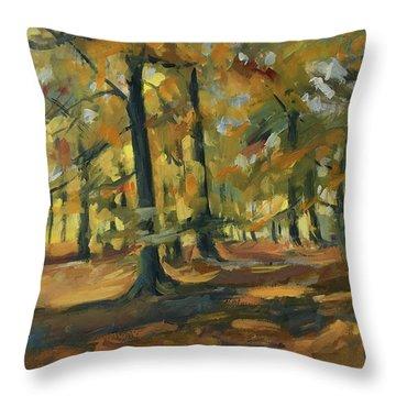 Beeches In Autumn Throw Pillow