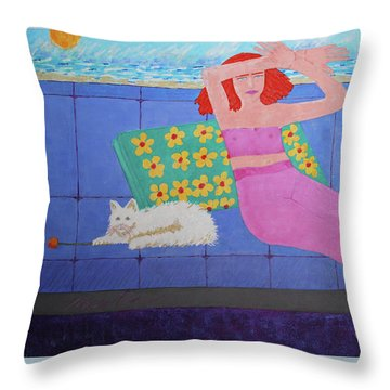 A Woman And Ralph Her Cat Throw Pillow