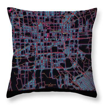 Beijing City Map Throw Pillow