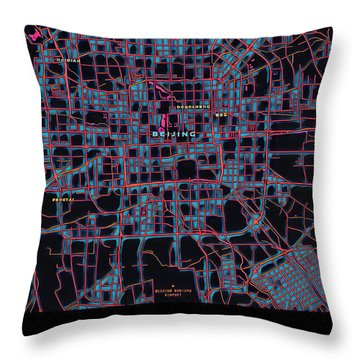 Beijing City Map Throw Pillow