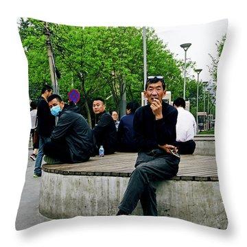Beijing Street Throw Pillow