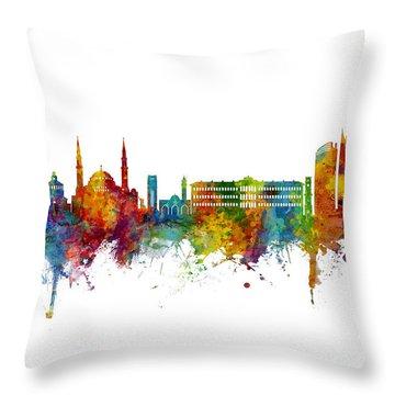 Beirut Lebanon Skyline Throw Pillow